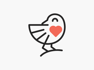 Love Tweety! branding design brand identity tweet wings love heart minimal lineart monoline bird illustration geometric logodesign logo design symbol icon branding mark brand logo