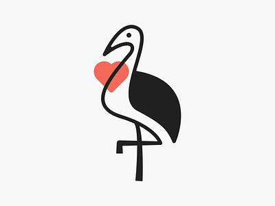 Love Crane! branding design lineart monoline minimal monochrome love heart stork crane brand identity bird illustration logodesign icon logo design symbol branding mark brand logo