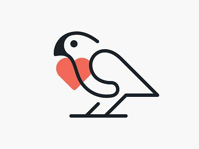 Monoline love parrot! dove visual identity brand design branding design brand identity monoline minimal love heart parrot bird illustration logodesign logo design symbol branding mark brand icon logo