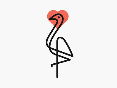 Love Crane! visual identity branding design flamingo love heart lineart stroke crane minimal monoline illustration geometric icon logodesign logo design symbol branding mark brand logo