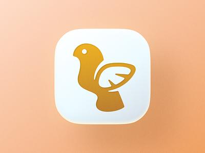 Golden Bird icon! brand identity wave wings birds ios brand design illustration logo design symbol branding mark brand golden gold bird app app icon icon logos logo