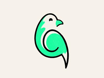 Green Coco! stroke branding design brand identity coco green minimal monoline birds parrot bird design illustration symbol branding icon mark logo design brand logo