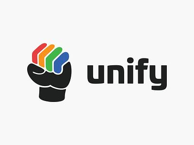 Unify! wordmark saas rebranding logo designer business brand design app icon app brand identity community power fist illustration icon symbol mark brand branding logo design logo