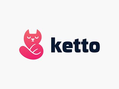 Ketto! red cute meow logotype gradient brand identity pet kitty kitto kitten cat illustration design symbol icon mark logo design branding brand logo