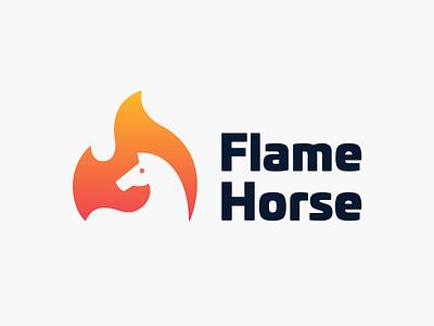 Flame Horse! product app saas logotype branding design brand identity negative space burn fire flame horse illustration design symbol mark icon branding brand logo design logo