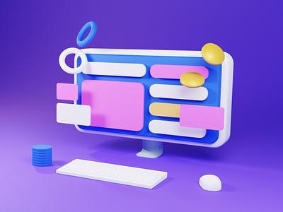 iMac! screen product design icon illustrations blender modeling coin saas web crypto finance apple office desk monitor imac ui 3d illustration