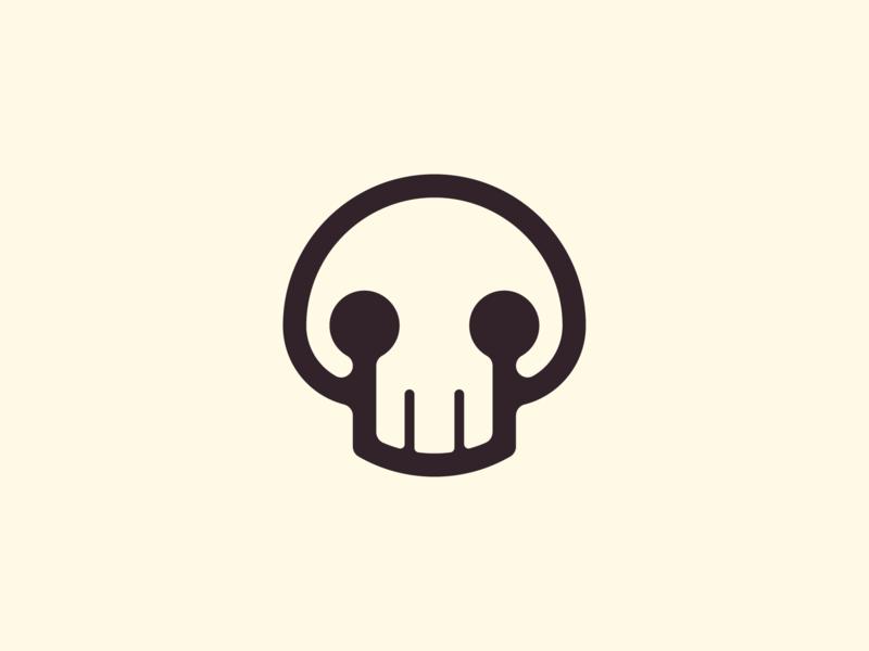 Skull symbol ! funny skull monochrome black dark illustration logo design logodesign symbol brand branding mark icon logo