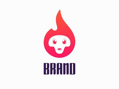 Fire skull ! logo icon mark branding brand symbol logodesign logo design monogram illustration skull fire flame burning burn caracter character funny cute