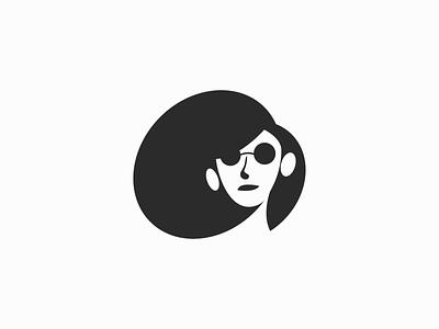Faya ! for sale mascot face black negative space summer glasses hair monochrome logo mark branding icon brand symbol logo design character illustration design girl
