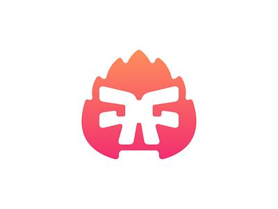 Fire skull II abstract cute funny character caracter burn burning flame fire skull illustration logo design logodesign symbol brand branding mark icon logo