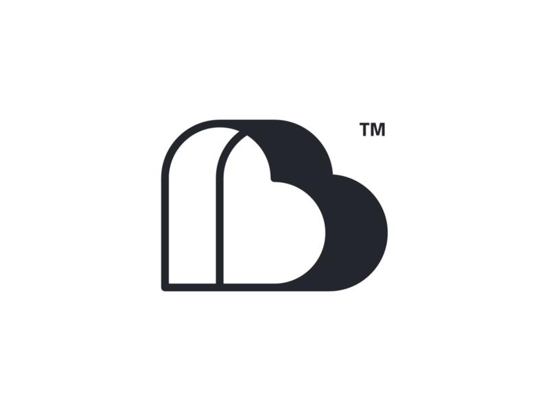 Heart B monochrome type heartbeat beat b lettermark monogram logodesign geometric logo design symbol brand branding icon mark logo heart