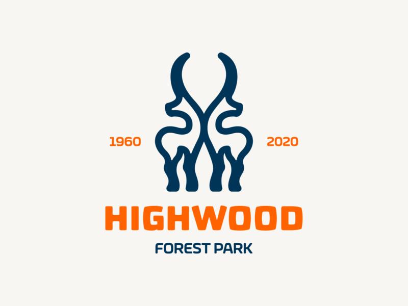 Highwood! logotype woodworking wood antlers deer forest park monochrome animal illustration logodesign logo design symbol branding brand icon mark logo
