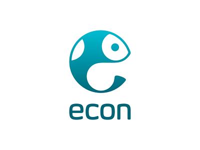 ECON! abstract monochrome blue catch seafood sea fishing fish illustration geometric logodesign logo design symbol branding brand icon mark logo