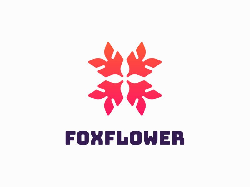 FoxFlower! nature for sale leaves leaf rose flower fox monochrome abstract geometric logodesign logo design symbol branding brand icon mark logo
