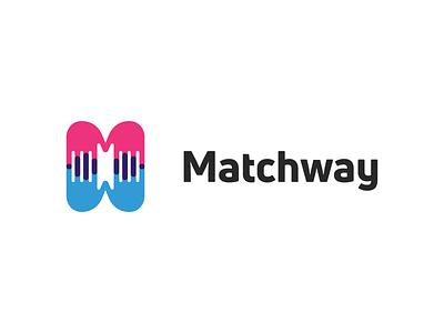 Matchway! for sale hand couple love app dating matchmaking matchmaker abstract illustration logodesign logo design symbol branding brand icon mark logo