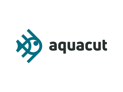 Aquacut! aquatic jellyfish for sale fishing ocean marine seafood sea fish monochrome abstract geometric logodesign logo design symbol branding brand icon mark logo