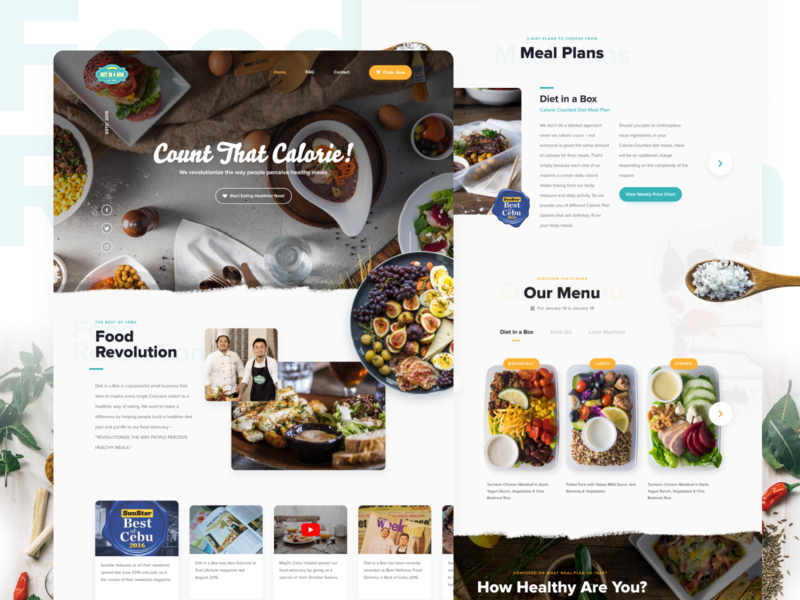 Diet in a Box -  Homepage Design website web design food landing page ux ui