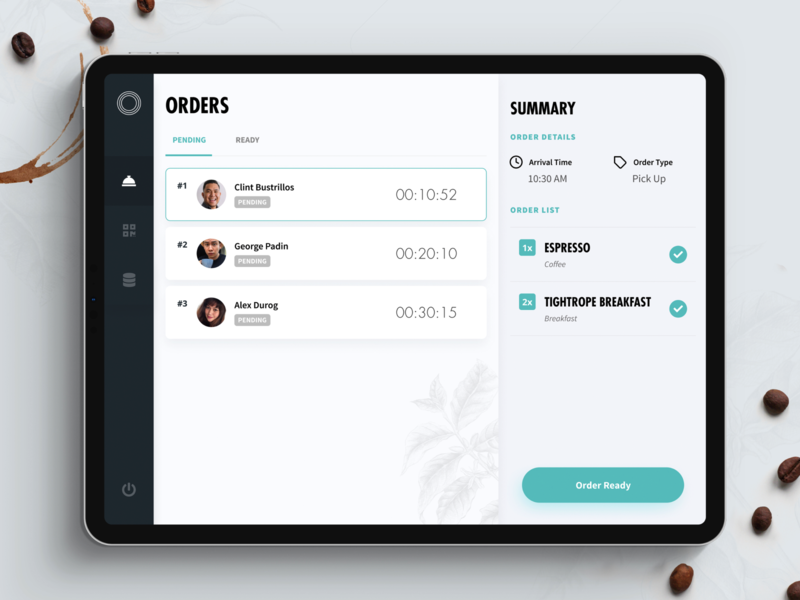 Tightrope Coffee Kiosk Dashboard web design dashboard coffee mvp startup app clean design ux ui