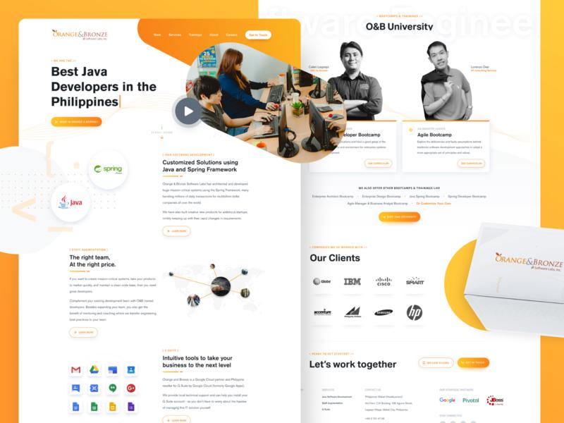 Orange & Bronze Software Labs website design landing page product design ux ui