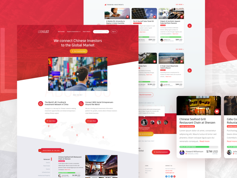 LoongList startup website landing page web product design ux ui