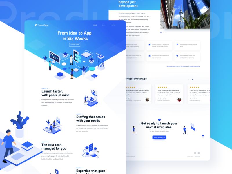 ProductDone design website illustration startup web design web landing page product design ux ui