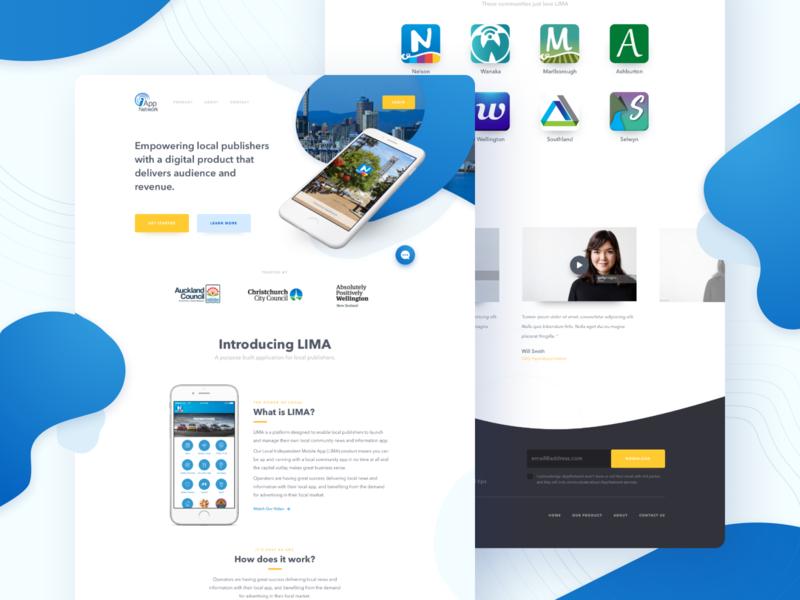 iApp Network website web design ux ui startup product design mvp landing page flat design