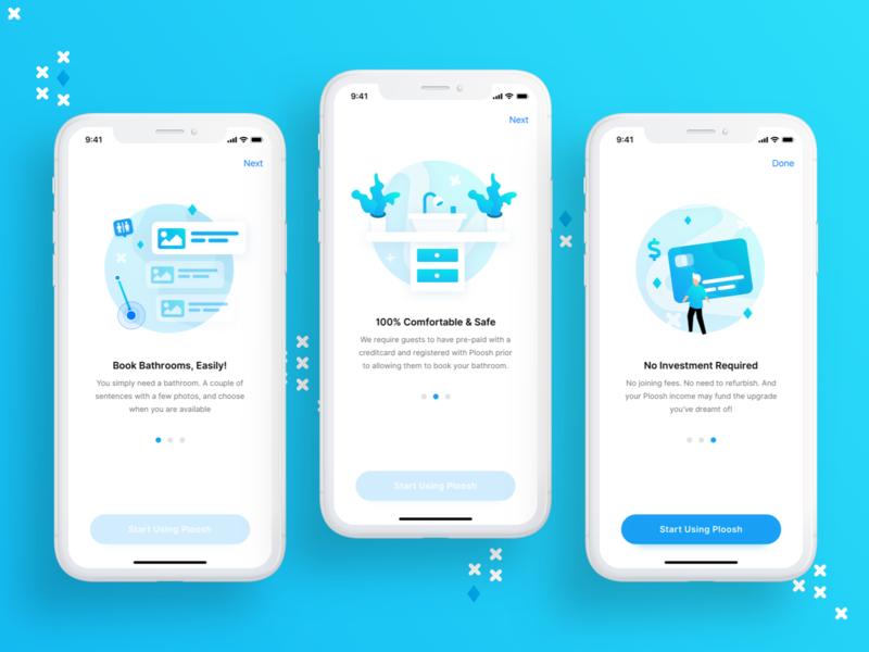 Ploosh - Onboarding ios mobile web mvp illustration product design app startup design vector ux ui