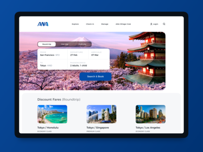 ANA | Landing page japan sketch visual design brand design home page landing page airline