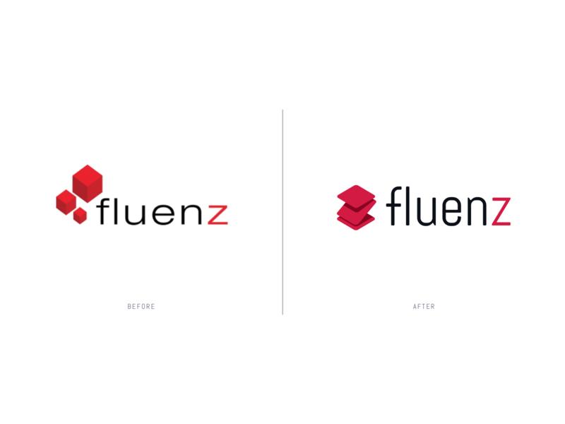 Fluenz - Logo (before after) visual design sketch branding before after logo design logo