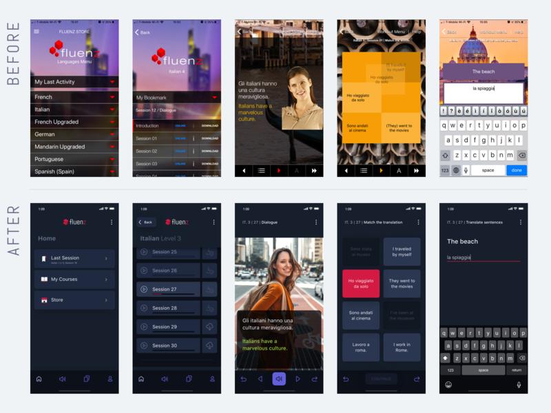 Fluenz - App (before after) sketch before after interaction design visual design ux  ui mobile app app