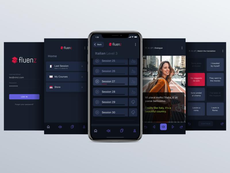 Fluenz - App screens screenshots product design interaction design iphone x sketch visual design mobile app