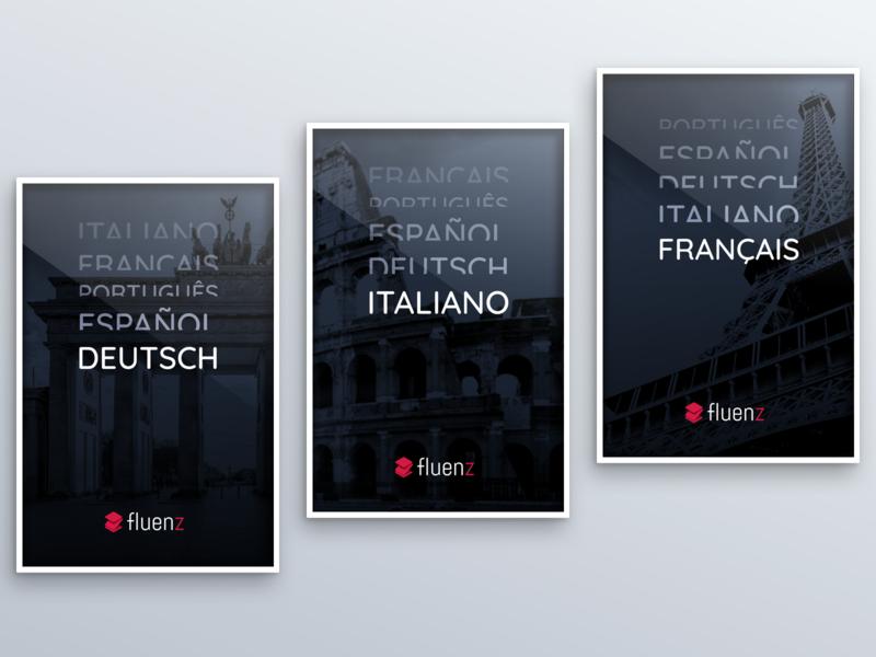 Fluenz - Posters sketch frame languages branding advertising poster