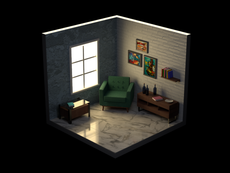 Interior Cube lighting rendering 3d