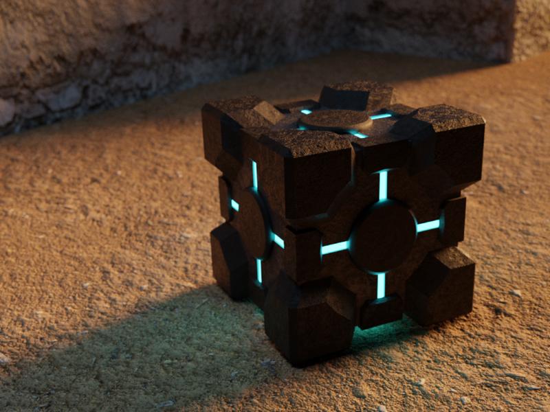 Companion Cube lighting 3drendering 3dmodeling 3d blender