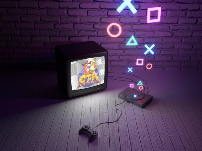 PlaystationOne 90s videogames playstation rendering 3dmodel blender