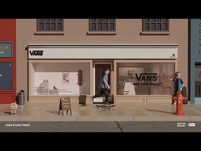 VANS STORE FRONT SERIES blender 3d design art skateboard skateboarding vans storefront 3d artist artworks illustration artwork branding 3d art 3d design 3d character modeling 3d character 3d art design