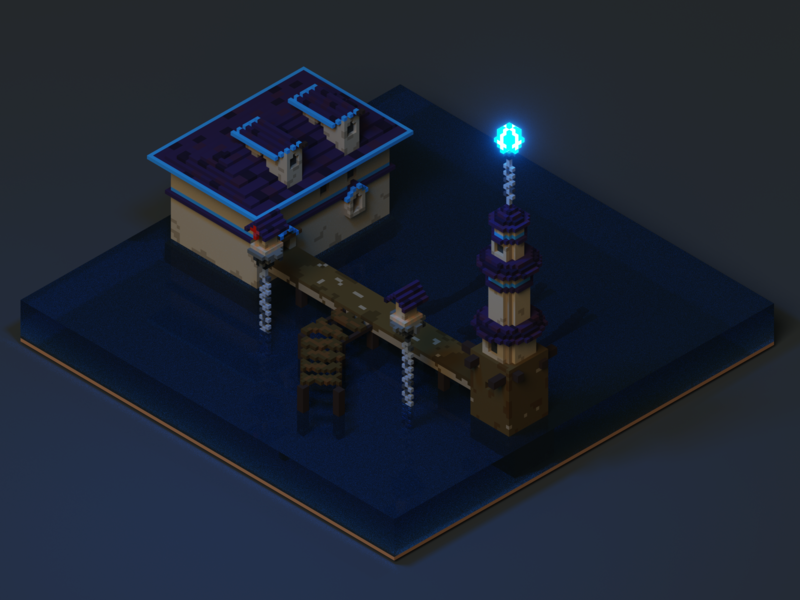 Ardent Mages | Port ardent mages lighthouse harbor port magicavoxel voxel endless legend videogames