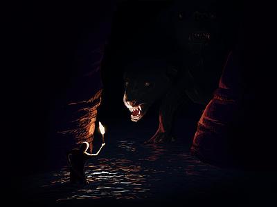 Two Headed Dog cave fantasy dark draw illustration hell dog cerberus