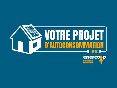 Logo Autoconsommation enercoop solar energy house solar panel electricity green energy energy autoconsommation
