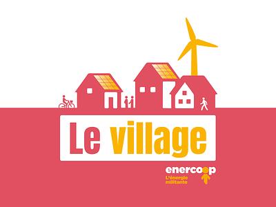 Le Village logodesign vector pink house solar panel wind turbine green energy enercoop village logo design logo