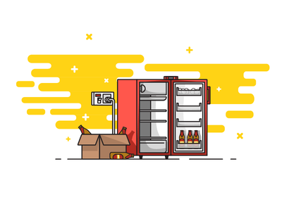 Bachelor Life101: Chapter1 illustration simple eggs lonely bachelor geometric food beer fridge