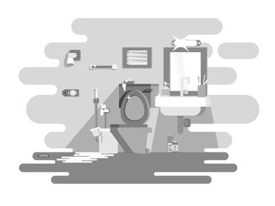Rest room grayscale bucket geometric illustration toilet morning light mirror shower basin restroom bathroom