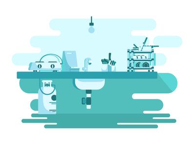 Kitchen blue shadow bulb gas geometric illustration basin sink vessels stove kitchen