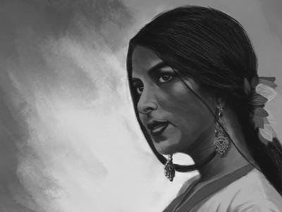 Portrait of a Lady face graphic art wacom beauty indian digital art portrait photoshop artist art