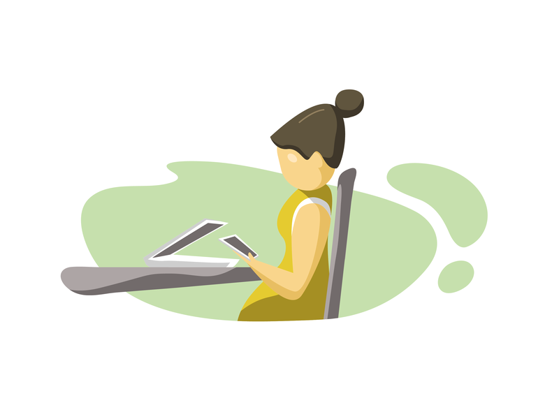 Office Scenes - 03 lazy work desk office website branding design vector ux illustrator ui illustration