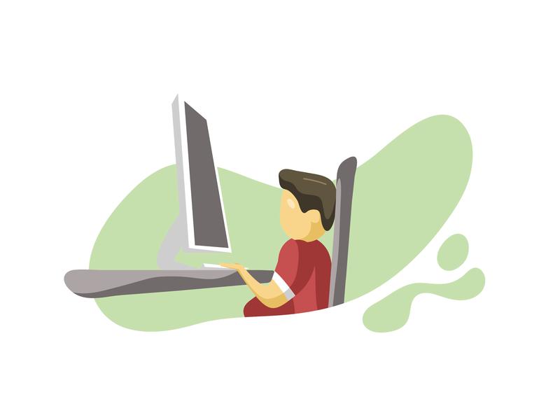 Office Scenes - 04 flat  design dedicated work desk office branding design website vector ux illustrator ui illustration