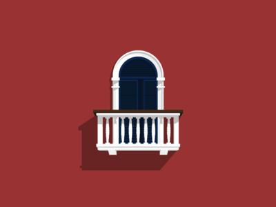 Balcony class elegant red website design vector ui illustrator geometric illustration balcony