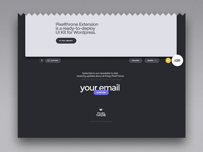 Pixelthrone Extension — WIP website footer addon plugin market themeforest wordpress pixelthrone