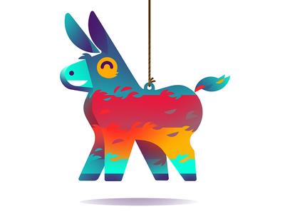 Piñata donkey visuals badge gamification app illustration
