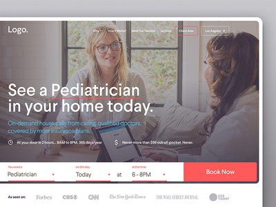 Heal — House Call Doctors project — website on demand house call doctors startup website